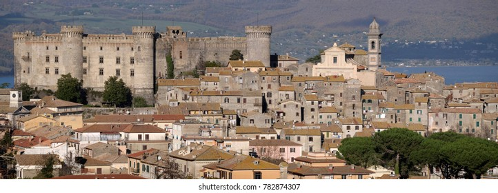Ancient town of Bracciano dominated by the medieval castle of the Orsini-Odescalchi family, Italy