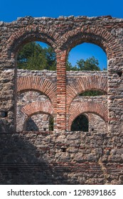 Ancient town Butrint (Buthrotum) - touristic attraction in Albania. Summertime traveling. Amazing original old town with fantastic stone architecture.