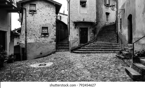 Ancient town with cobble stone street and steps