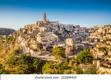 Ancient town of Matera (Sassi di Matera) at sunrise, Basilicata, southern Italy