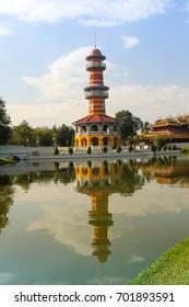 Ancient Traditional Architecture at Bang Pa-In  palace.The Royal Residence of the Thai royal summer palace at Bang Pa-In city, Ayutthaya,Thailand