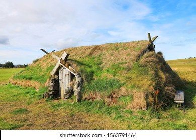 Ancient traditional turf house in Iceland, Europe