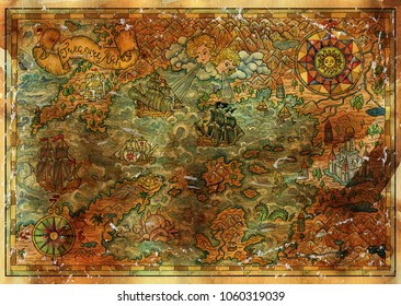 Ancient treasures map with pirate ships, compasses, fantasy lands. Decorative antique nautical chart, collage with hand drawn illustration