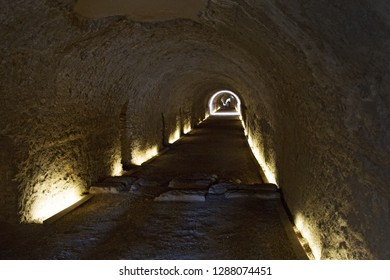 Ancient tunnel under Roman Circus in Tarragona, Catalonia, Spain