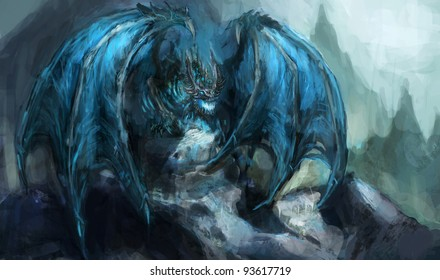 ancient  undead frost dragon illustration