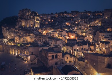 Ancient Unesco heritage old town of Matera (Sassi di Matera), in southern Italy. Prehistoric dwellings, 2019, the European capital of culture