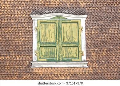 Ancient unique window. Munster, Switzerland