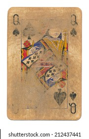 ancient used rubbed playing card queen of spades paper background isolated on white