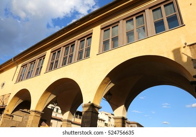 Ancient Vasari Corridor over old bridge in Florence Italy