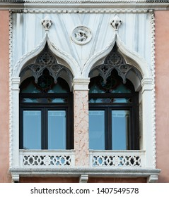 Ancient venetian window and marble balcony, beautiful architectural element