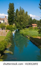 Ancient village of Bevagna from the river Clitunno in Umbria
