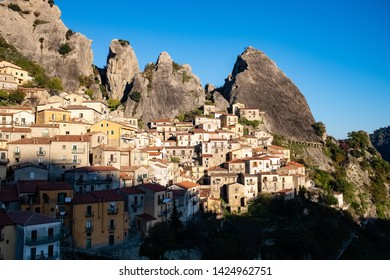 Ancient village of Castelmezzano at sunset. Dolomites of Basilicata mountains called Dolomiti Lucane.  Basilicata region, Italy