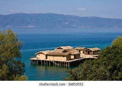 Ancient Village Reconstruction on Lake Ohrid in Macedonia. - Shutterstock ID 36853552