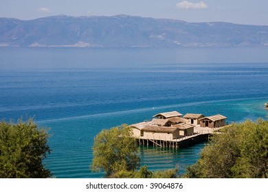 Ancient Village Reconstruction on Lake Ohrid in Macedonia. - Shutterstock ID 39064876
