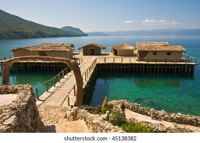 Ancient Village Reconstruction on Lake Ohrid in Macedonia. - Shutterstock ID 45138382