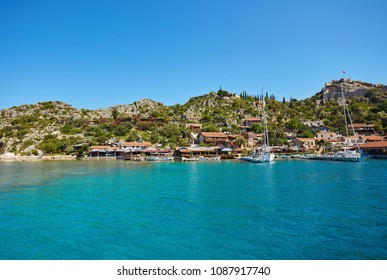 Ancient village of Simena on the shores of the Mediterranean Sea in the Kekova area of the Antalya province