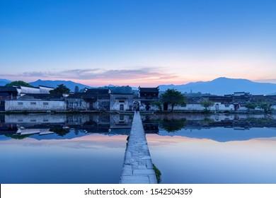 ancient villages in southern anhui, hongcun at dawn, China