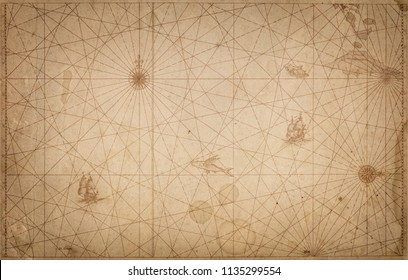 Ancient vintage map background. Retro style. Science, education, travel, vintage background. History and geography topic.