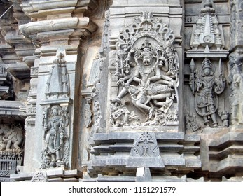 Ancient Vishnu sculpture at Chenna Keshava temple,Belur, India