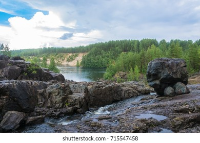 In the ancient volcano in the cloud cloudy day Girvas, Karelia, Russia.