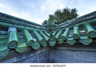The ancient wall, blue glazed tile roof, located in the temple of heaven in Beijing, in China