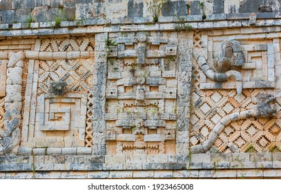 Ancient wall with carved Mayan  ornament , Uxmal, Yucatan, Mexico. UNESCO world heritage site