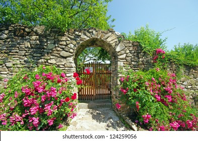 Ancient wall with flowers (Humor Monastery in Moldavia)