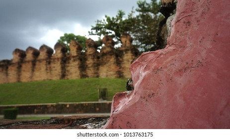 An ancient wall of Nakhon Si thammarat,The wall was made from bricks by the older generation ,The purpose is to protect the people from the enemy,landmark of Nakhon Si Thammaratat, Thailand,Asia