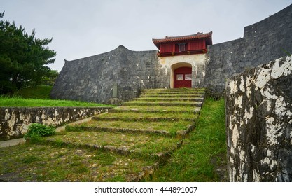 ancient wall at Shuri Castle, Okinawa, Japan
