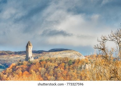 The ancient Wallace monument in memory of braveheart Sir William Wallace which sits proudly above Stirling and in sight of Stirling castle.
