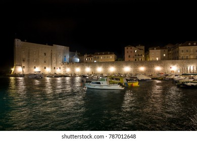 The ancient walled Old Town of Dubrovnik, Croatia at night