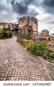 The ancient walls of the castle and Trigonion Tower in the old city Ano Poli in Thessaloniki, Greece.