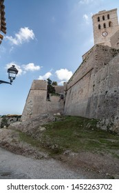 Ancient walls and cathedral in walled enclosure of Dalt Vila of Ibiza, Eivissa, Balearic Islands. Spain.