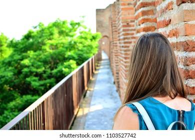 Ancient walls of Cittadella, beautiful village in Padua, Veneto, Italy.