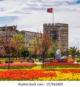 The ancient walls of Constantinople, during the Tulip Festival in Istanbul, Turkey.