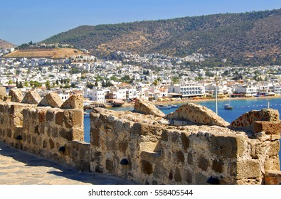 Ancient Walls Facing the City of Bodrum, Turkey