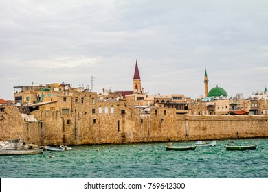 Ancient walls of harbor in Acre, Israel