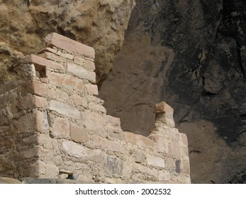 Ancient walls of Native American cliff dwellings,