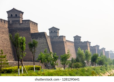 The ancient walls protecting the Old city of Pingyao, Shanxi province, China
