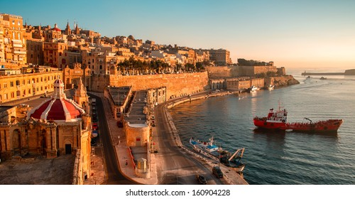 Ancient walls and streets of Valetta- the capital of Malta.