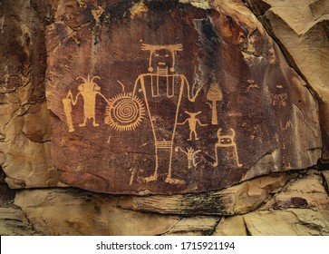 Ancient Warrior and anthropomorphic petroglyphs made by the Fremont people at McKee Springs inside Dinosaur National Monument, near the town of Jensen and the Utah-Colorado border, United States.