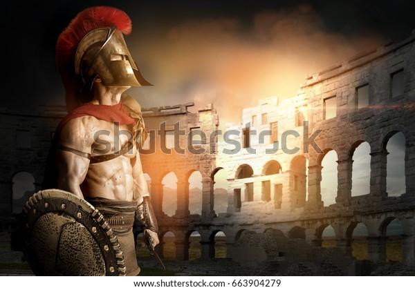 Antiguo guerrero o Gladiador posando en el ruedo