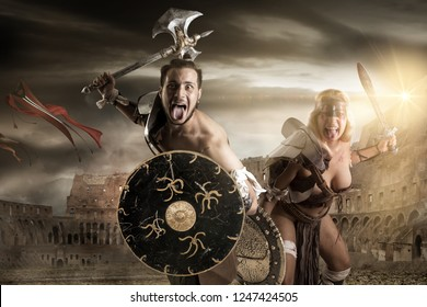 Ancient warrior or Gladiator's couple ready to fight in the arena