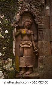 Ancient Wat Phu Khmer temple, Pakse, Champasak,Laos. Rock carving of Apsara, female spirit in Buddhist at Wat Phu,Khmer Hindu temple complex and UNESCO World Heritage Site in Champasak Province,  Laos