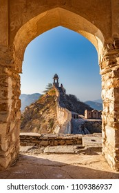 An ancient watchtower overlooking the city of Amer in Rajasthan, India.
