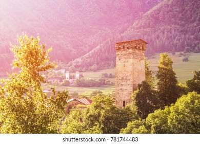 Ancient watchtowers on a mountain pass.