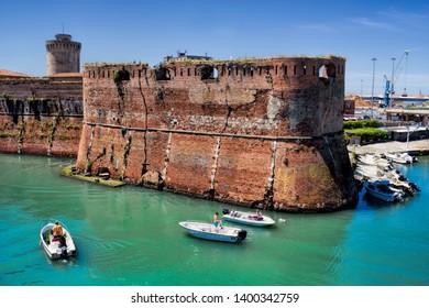 ancient water castle Darsena Vecchia in Livorno, Italy