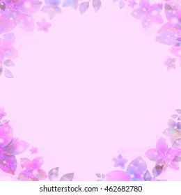 Ancient water color vignette, flickering flowers, purple. Retro background, vintage style. Basis for design or text.