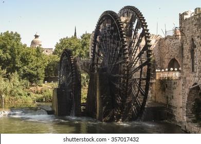 Ancient water-wheels, Norias in Hama Syria