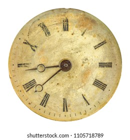 Ancient weathered clock face with faded numbers isolated on a white background